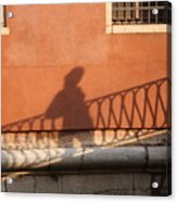 Shadow Of A Person Crossing The Shadow Of A Bridge In Venice Acrylic Print