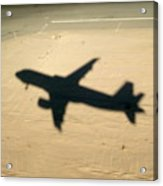 Shadow Of Airplane Flying Into Land Acrylic Print