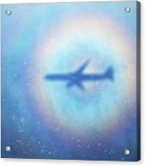 Shadow Of An Aeroplane Surrounded By A Rainbow Halo Acrylic Print