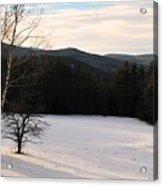 Shadows On A Snow Covered Field Acrylic Print