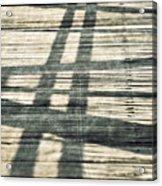 Shadows On A Wooden Board Bridge Acrylic Print