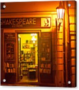 Shakespeares' Bookstore-prague Acrylic Print by John Galbo