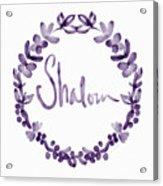 Shalom Wreath- Art By Linda Woods Acrylic Print