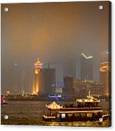 Shanghai Skyline At Night Acrylic Print by James Dricker