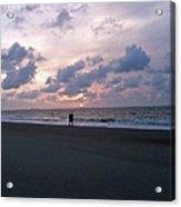Sharing The Beach At Sunrise Acrylic Print