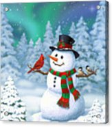 Sharing The Wonder - Christmas Snowman And Birds Acrylic Print
