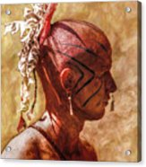 Shawnee Indian Warrior Portrait Acrylic Print by Randy Steele