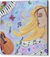 She Dreams In Music Acrylic Print
