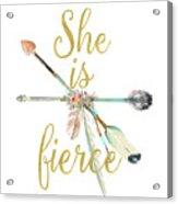 She Is Fierce Boho Tribal Gold Blush Arrow Print Acrylic Print