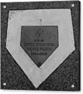 Shea Stadium Home Plate In Black And White Acrylic Print by Rob Hans