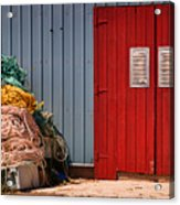 Shed Doors And Tangled Nets Acrylic Print by Louise Heusinkveld