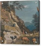 Sheep And Three Peasants Below A Cliff Acrylic Print