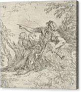 Shepherd Holding A Flute And Two Other Figures In A Landscape Acrylic Print