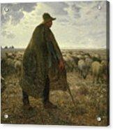 Shepherd Tending His Flock Acrylic Print