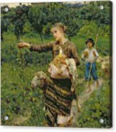 Shepherdess Carrying A Bunch Of Grapes Acrylic Print
