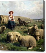 Shepherdess With Sheep In A Landscape Acrylic Print by C Leemputten and T Gerard