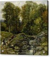 Shepherds Next To A Brook By Thomas Creswick Acrylic Print