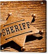 Sheriff Badge - Sepia Acrylic Print