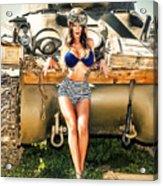Sherman Tank Pin-up Acrylic Print