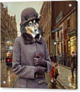 Shetland Sheepdog Art Canvas Print - Charleston Blue Acrylic Print