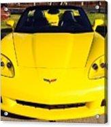 Shiny Yellow Corvette Convertible  Acrylic Print