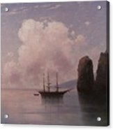 Ship In Calm Water At Dusk Acrylic Print