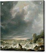 Ship In Distress Off A Rocky Coast Acrylic Print
