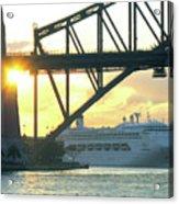 Ship Under Sydney Harbour Bridge Acrylic Print