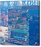 Shipping Containers And Building Windows Reflecting Graffiti  Art Of Valparaiso-chile Acrylic Print