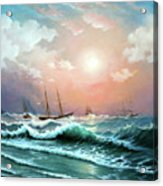 Ships In A Storm At Sunset Acrylic Print