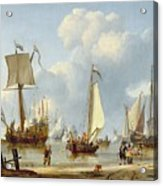 Ships In Calm Water With Figures By The Shore Acrylic Print by Abraham Storck