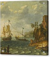 Ships Moored Off A Rocky Coastline With Fishermen Unloading Their Catch Acrylic Print