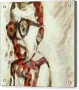 Shocked Scared Screaming Boy With Curly Red Hair In Glasses And Overalls In Acrylic Paint As A Loose Acrylic Print