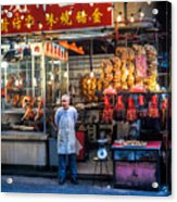 Shop Owner Standing In Front Of Poultry Shop On Temple Street Night Market Kowloon Hong Kong China Acrylic Print