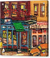 St Viateur Bagel Shop And Mehadrins Kosher Deli Best Original Montreal Jewish Landmark Painting  Acrylic Print