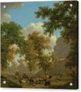 Shore, Pierre-louis Geneva 1753 - 1817 Presinge Lively And Large Trough Path At The Foot Of Cliffs Acrylic Print