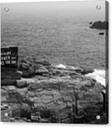Shoreline And Shipwreck - Portland, Maine Bw Acrylic Print