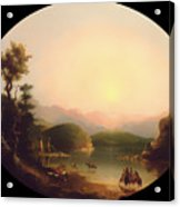Shoshone Indians At A Mountain Lake Acrylic Print