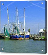 Shrimp Boats Seabrook  Acrylic Print by Fred Jinkins