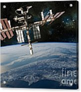 Shuttle Docked At Space Station Acrylic Print