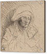 Sick Woman With A Large White Headdress (saskia) Acrylic Print