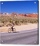 Side Profile Of A Person Cycling Acrylic Print