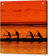 Side View Of Paddlers Acrylic Print