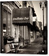 Sidewalk At Shoebooties Cafe In Black And White Acrylic Print