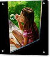 Sierra Blowing Bubbles Acrylic Print