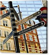 Signpost In London Acrylic Print by Elena Elisseeva