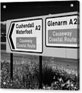 Signposts For The Causeway Coastal Route At Carnlough Between Cushendall And Glenarm County Antrim Acrylic Print by Joe Fox