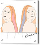 Silent Eve Mirror- Beautiful Woman Portrait Minimalist Drawing Acrylic Print