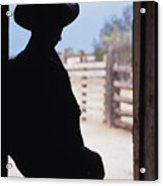 Silhouette Of A Cowboy In A Doorway Acrylic Print