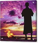 Silhouette Of A Local Man Standing By The Bonfire On The Beach In Maldives During Dramatic Sunset Acrylic Print